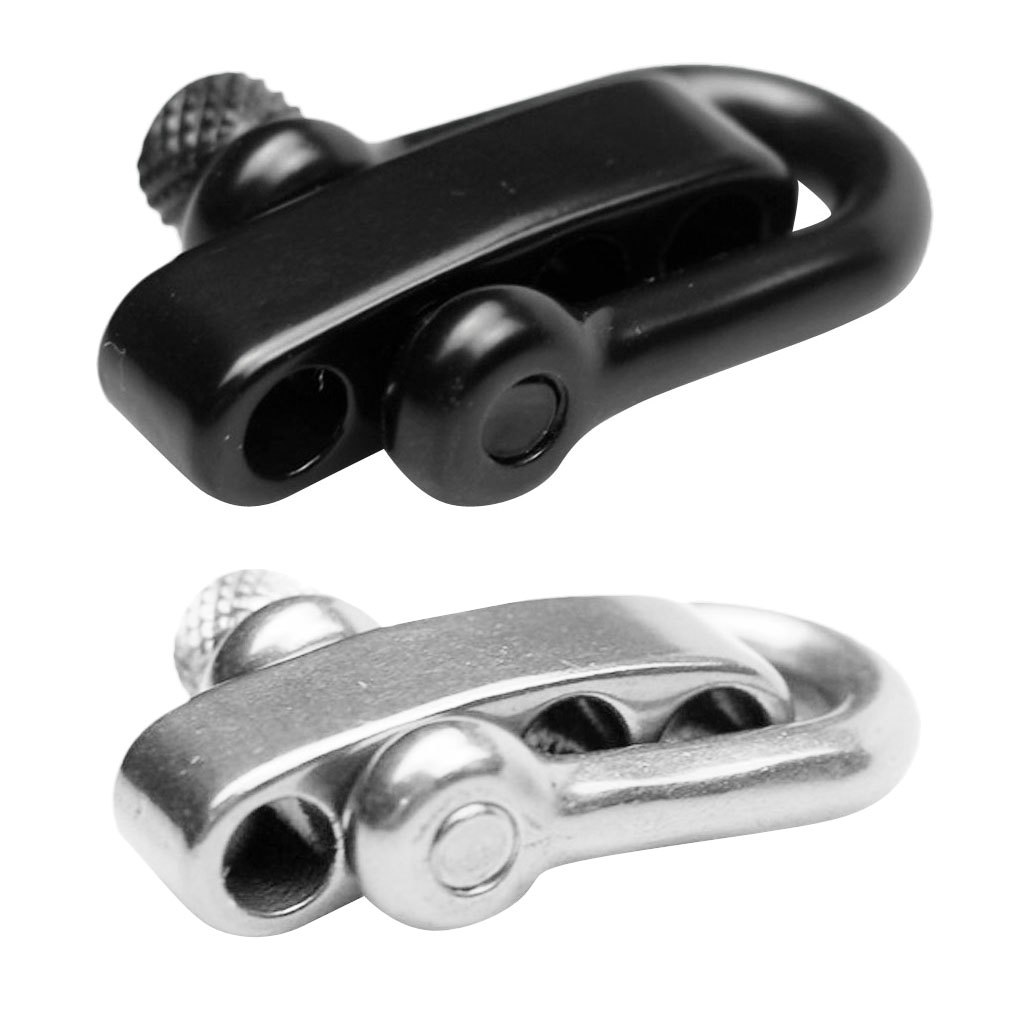 U Flat Adjustable Shackle Buckle Clasp for Survival Paracord Bracelet Black