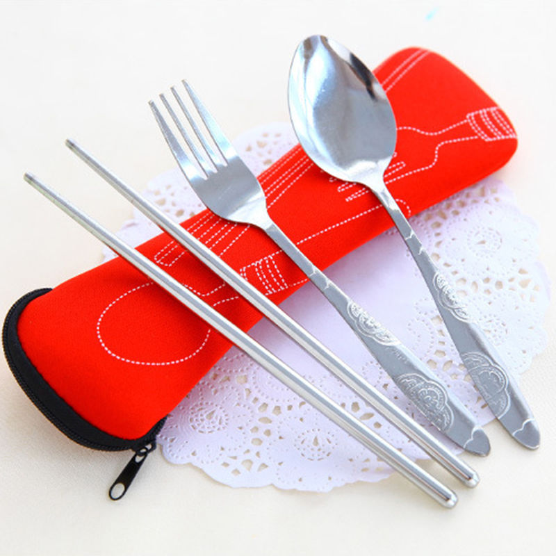 Fork Spoon Travel Stainless Steel Tableware Portable Camping Bag Picnic Free Shipping(China (Mainland))
