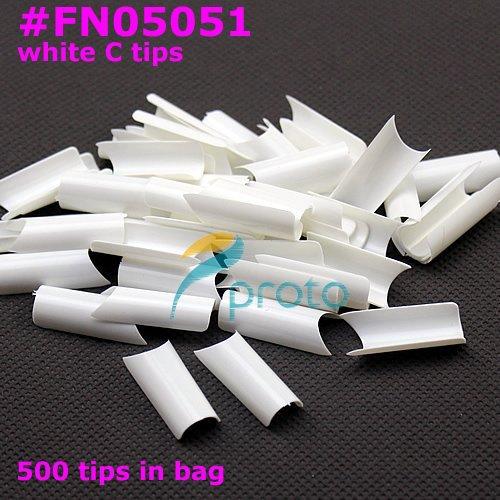 500x C Curve White French nail art tips Europe Style Acrylic Nail tips False Nails Tools Retail SKU:A0019(China (Mainland))