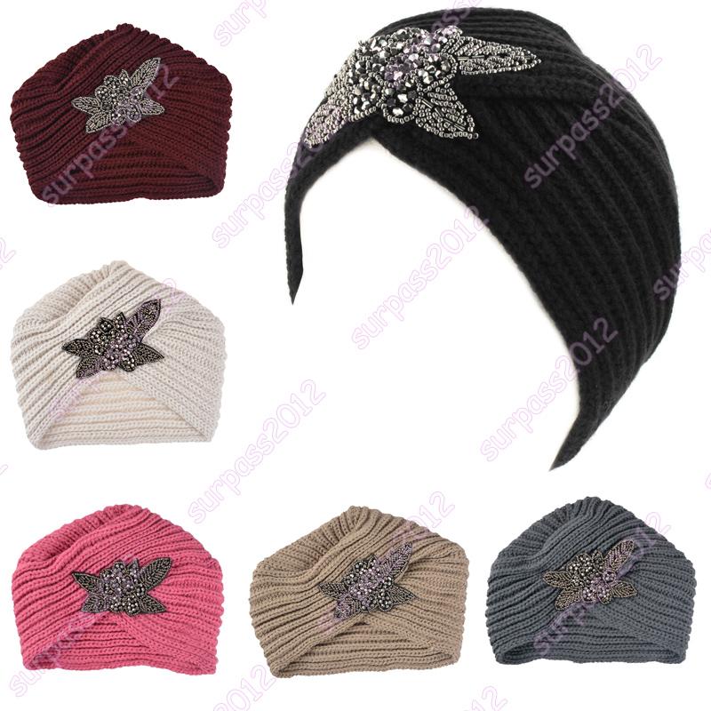 2016 New Fashion Ladies Metal Jewel Accessory Winter Warm Floral Turban Soft Knit Headband Beanie Crochet Headwrap Women Hat Cap(China (Mainland))