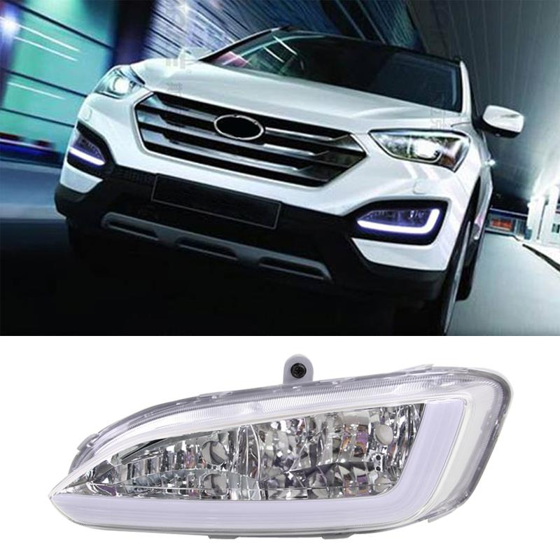 1 Pair Car Styling 12V 12W LED DRL Daytime Running Light Fog Lamp For Hyundai Santa Fe IX45 2013 2014 2015