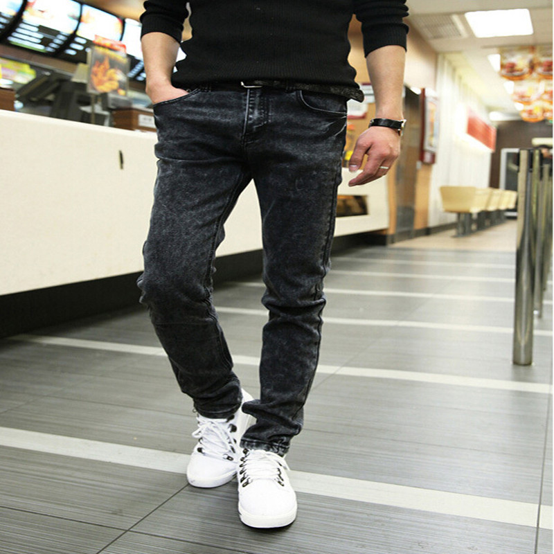 Free shipping 2015 Spring new men s black skinny jeans Fashion slim fit snowflake cowboy feet