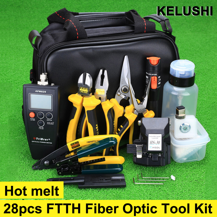 28pcs/set FTTH Assembly Optical Fiber Termination Tool Kit with Optical Power Meter HS-30 Fiber Cleaver and Visual Fault Locator(China (Mainland))