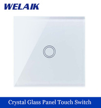 WELAIK brand New Crystal Glass Panel Switch Wall Switch EU Touch Switch Screen Wall Light Switch 1gang1way LED lamp A1911XW/B(China (Mainland))