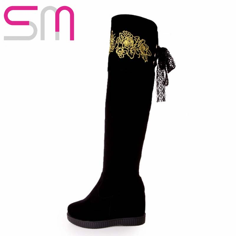 Brand Embroidery Ribbons Over the Knee Boots Hidden Wedges Platform Snow Shoes Woman Skid Proof  Warm Winter Boots Women Boots