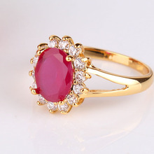 Elegant Designer 24K Gold Plated Rings Girl s Oval Cut Ruby Crystals Ring Engagement Wedding Ring