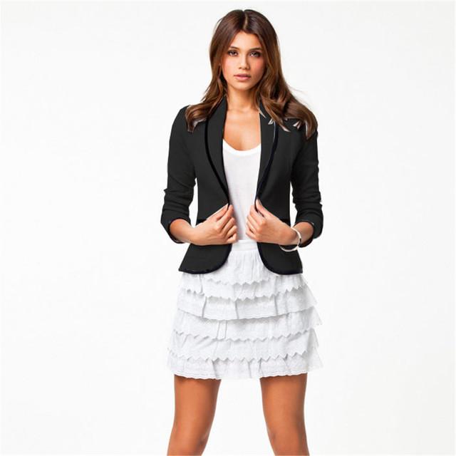 Новое 2015 блейзер FeМиниno женщины пиджак пиджак короткий стиль с длинным рукавом ...
