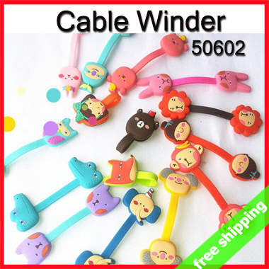 FREE SHIPPING Cartoon Cable Winder Clip Earphone Cord Organizer Table Wire Tidy Up Office Promotion Gift 30pcs/lot say hi 50602(China (Mainland))