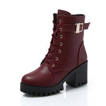 Sıcak Satış 2018 Marka Bayan Botları Lace Up Düz Biker Savaş Şarap Kırmızı Çizmeler Ayakkabı Toka Kadın botas Kadın Martin çizmeler Boyutu 35-39(China)