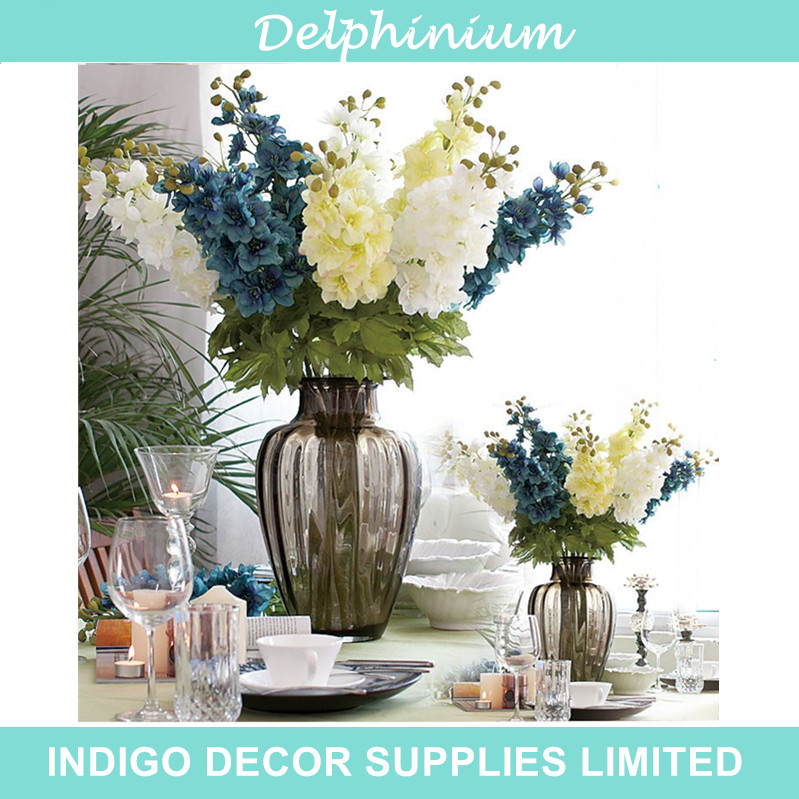 8pcs/Lot Delphinium - Fake Flower Silk Flower Wedding Decoration Flower Home Decorative Hotel Banquet Blossom Free Shipping(China (Mainland))