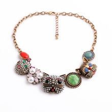 Fashion Vintage Jewelry Women Cute Crystal Cats Pearl Necklaces Pendants Casual Accessories Factory Wholesale(China (Mainland))