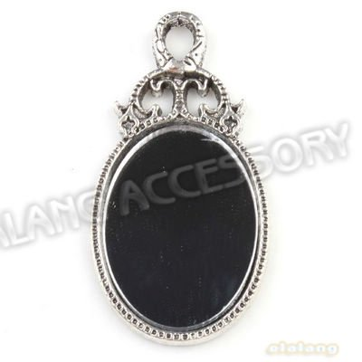 Charms Mirror Shape Pendant Antique Silver Plated Zinc Alloy In Stock Pendant 12pcs/lot Fit Necklace Handcraft 54*28*4mm 143353(China (Mainland))