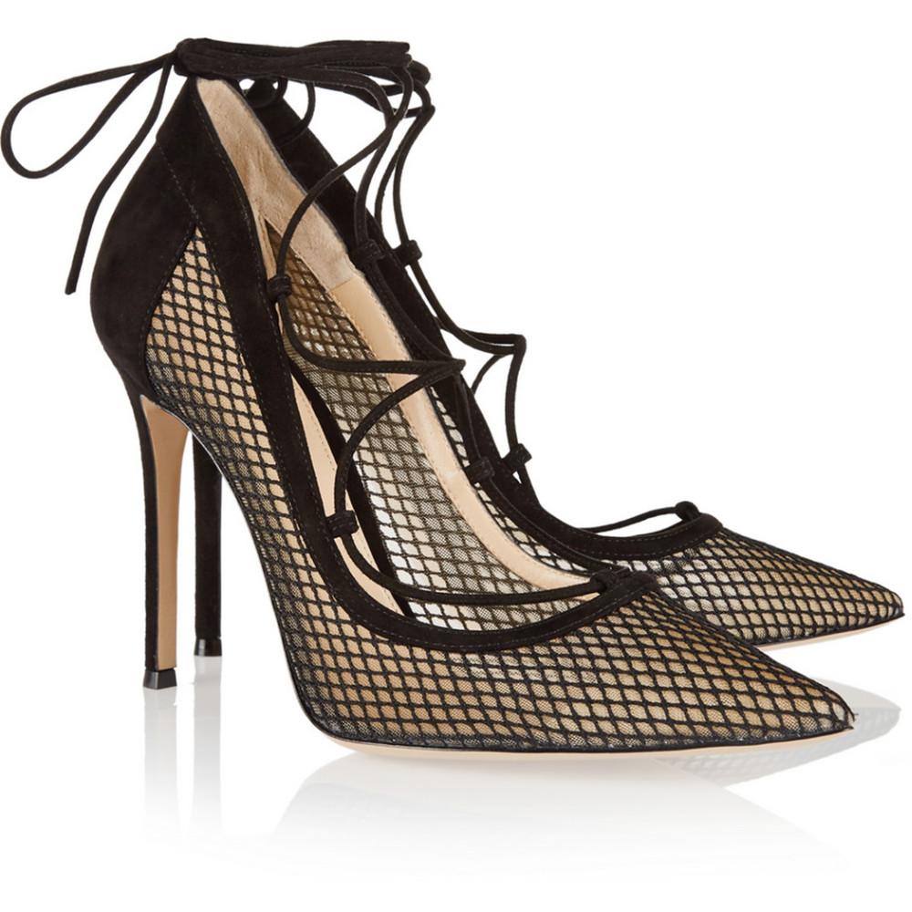 shofoo black mesh pointed toe stilleto high heels