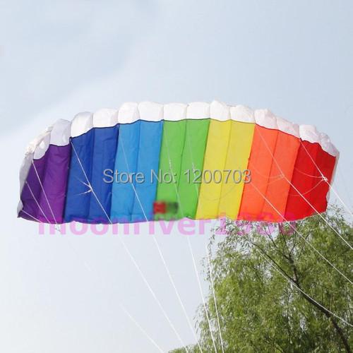 G104 Free Shipping Power Dual Line Stunt Parafoil Parachute Rainbow Sports Beach Kite For Beginner(China (Mainland))