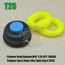 T25 M10 * 1.25 rosca izquierda fácil carga del cabezal de corte desbrozadora con 2 unids 2.4 MM X 10 M luz giro amarillo de la línea de corte