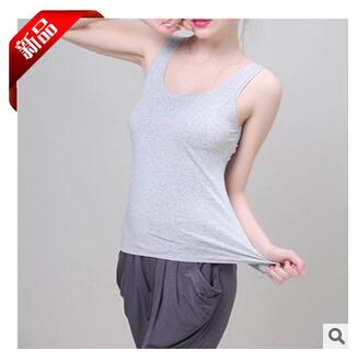 Tops 2015 summer t shirts women tanks & camis double U-Neck sleeveless slim modal camisole plus size black/white/gray  -  Mary Fashion Large Size Clothing Store ( S-10XL store)
