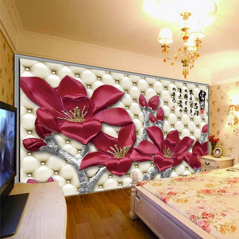 3d seamless large mural wallpaper non-woven wallpaper the living room TV backdrop wall covering Chinese wealth and good fortune