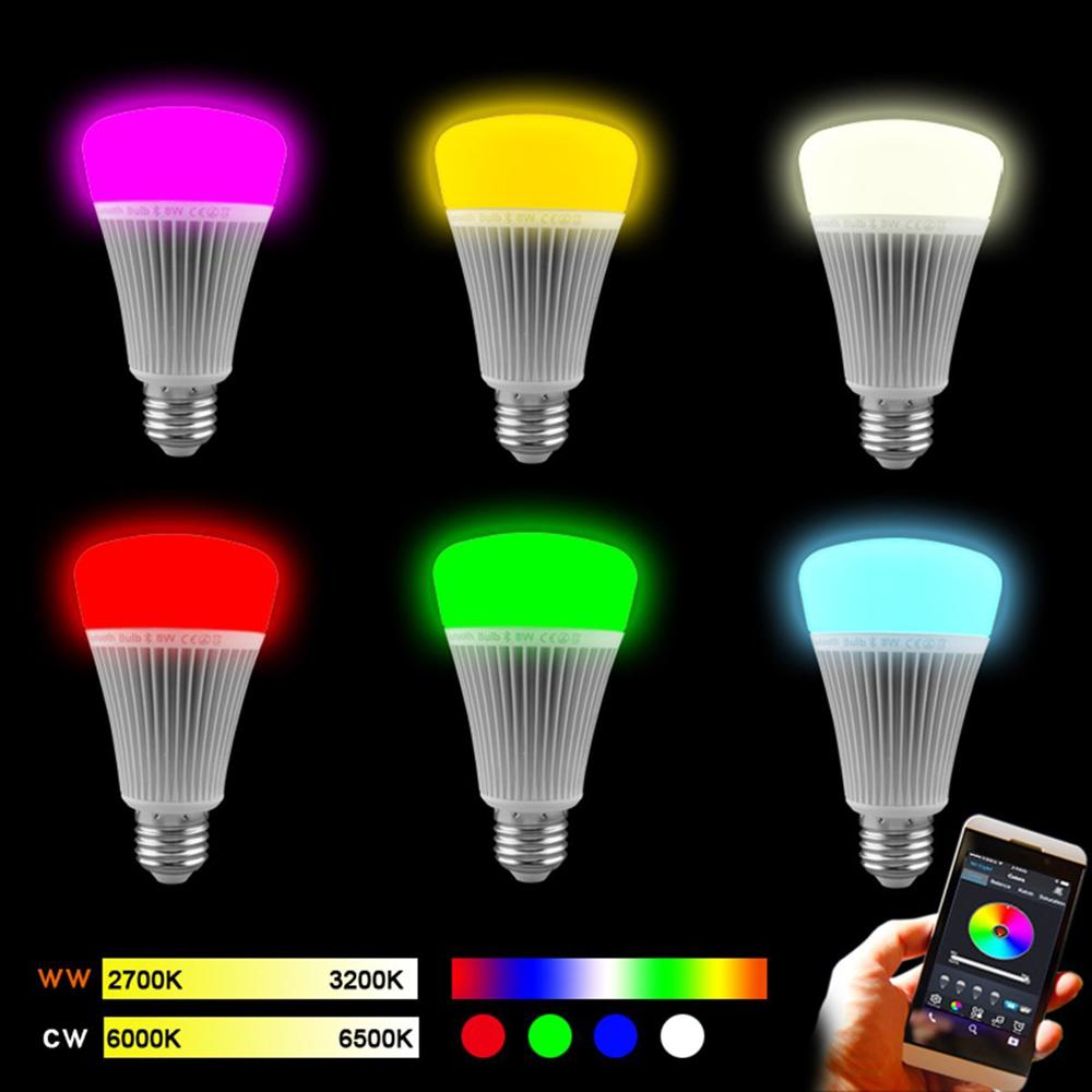 LED light bulb AC85-265V Mi Light E27/E26 ampolletas led Buletooth 4.0 Smart 8W RGB Dimmable Lamp Speaker apple android LED(China (Mainland))