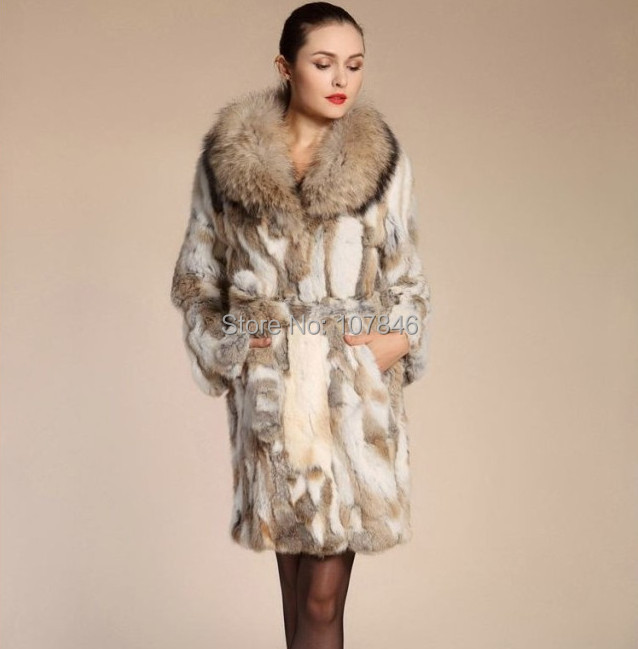 2015 Fashion Genuine Real Sliced Rabbit Fur Coat Raccoon Fur Collar Winter Women Fur Trench Outerwear Coats Clothing 3XL 1464Îäåæäà è àêñåññóàðû<br><br>