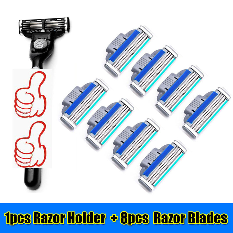 8pcs 3 Layer Razor Blades+1pcs Razor Holder Face Care Manual Shaving Razor Blade Safe Blades Shaving Machine For Man LG404(China (Mainland))