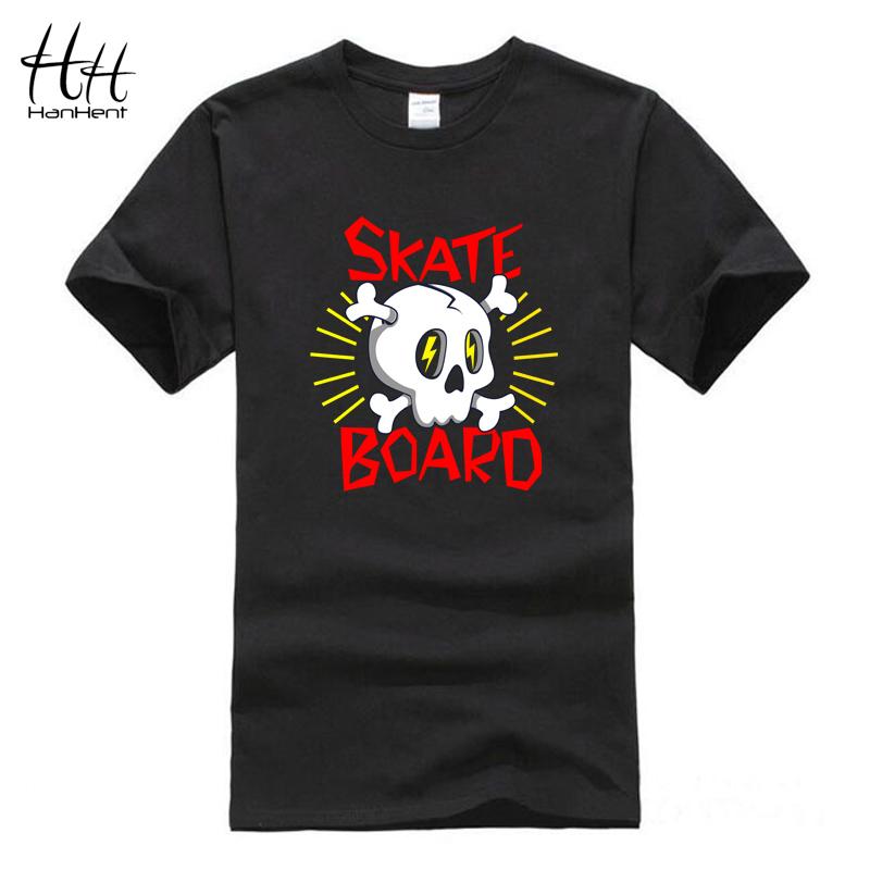 HanHent Skateboard Skull Logo Cotton T Shirts O Neck Skate Sport Tops 2016 Men Brand New T shirt 3D t-shirt skate board t-shirt(China (Mainland))