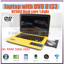 New Arrival 13.3'' Laptop Computer DVD Drive 4G RAM & 500G HDD DVD-RW Win 7 WIFI Dual Core Laptop with Russian Keyboard Notebook(Hong Kong)