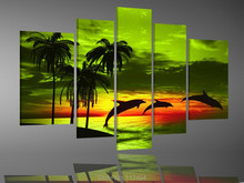 Framed,100% Handmade dolphin oil painting on canvas Wall art home decorations 5pcs/set  with framed ready to hung F/845(China (Mainland))