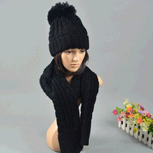 New  Ladies Women Knitted Scarf And Hat Suite Set Winter Girl Knitting Scraves Cap warm (No gloves) Free shipping(China (Mainland))