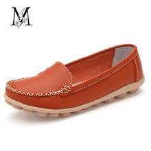 2016 Shoes Woman Genuine Leather Women Shoes Flats 5 Colors Buckle Loafers Slip On Women Casual Shoes Moccasins Plus Size #D01(China (Mainland))