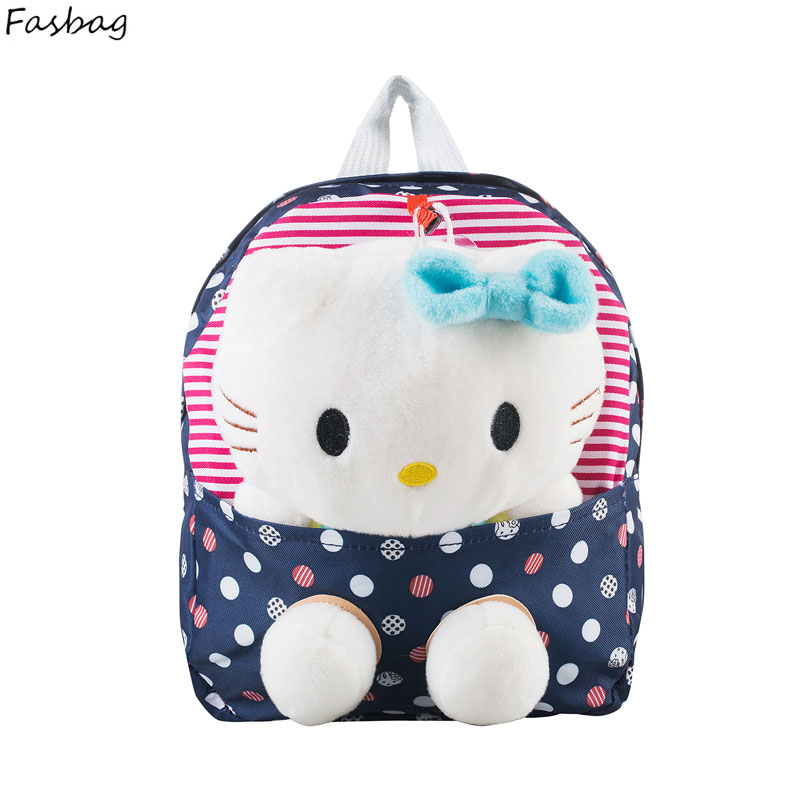 New Nylon Cute Dot Hello Kitty Backpacks Gift for Children Plush Cartoon School Bag for Kid with Detachable Doll 3 Colors(China (Mainland))