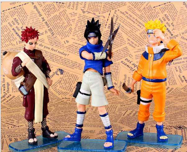 3PCS Japanese Anime Naruto Uchiha Sasuke Gaara PVC Action FIgure Naruto Figruine with Base <br><br>Aliexpress