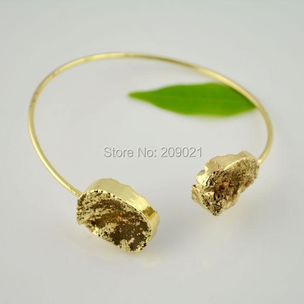 Wholesale! 5pcs Gold Plated Drusy Druzy quartz Gem stone Bangle Bracelets Jewelry Finding