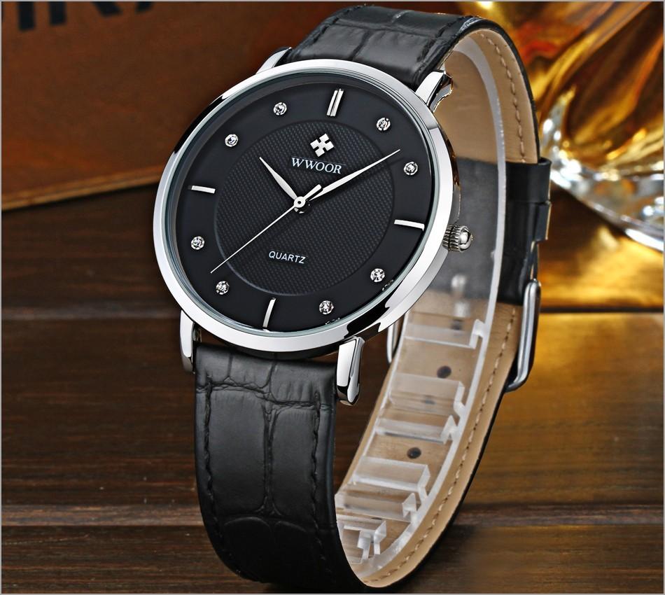 Мужские Часы Лучший Бренд Класса Люкс 50 М Ультра Тонкий Водонепроницаемый Дата часы Мужской Кожаный Ремешок Повседневная Кварцевые Часы Мужчины Спорт Наручные часы