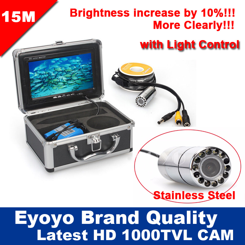 Free Shipping!15M Professional 1000TVL Underwater Fishing Video Camera Stainless Steel Camera Fish Finder 7 12pcs White LED<br>