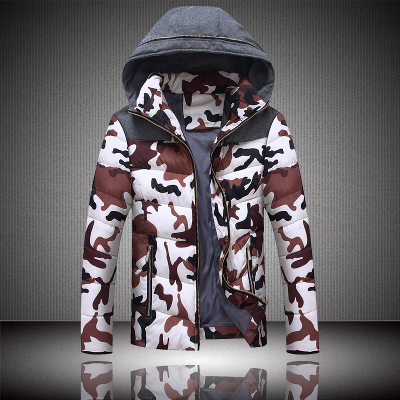 2015 Mens Camouflage Duck Down Jackets Winter Thick Patchwork Hooded Parka Windbreaker Casual Hooded Male Clothes