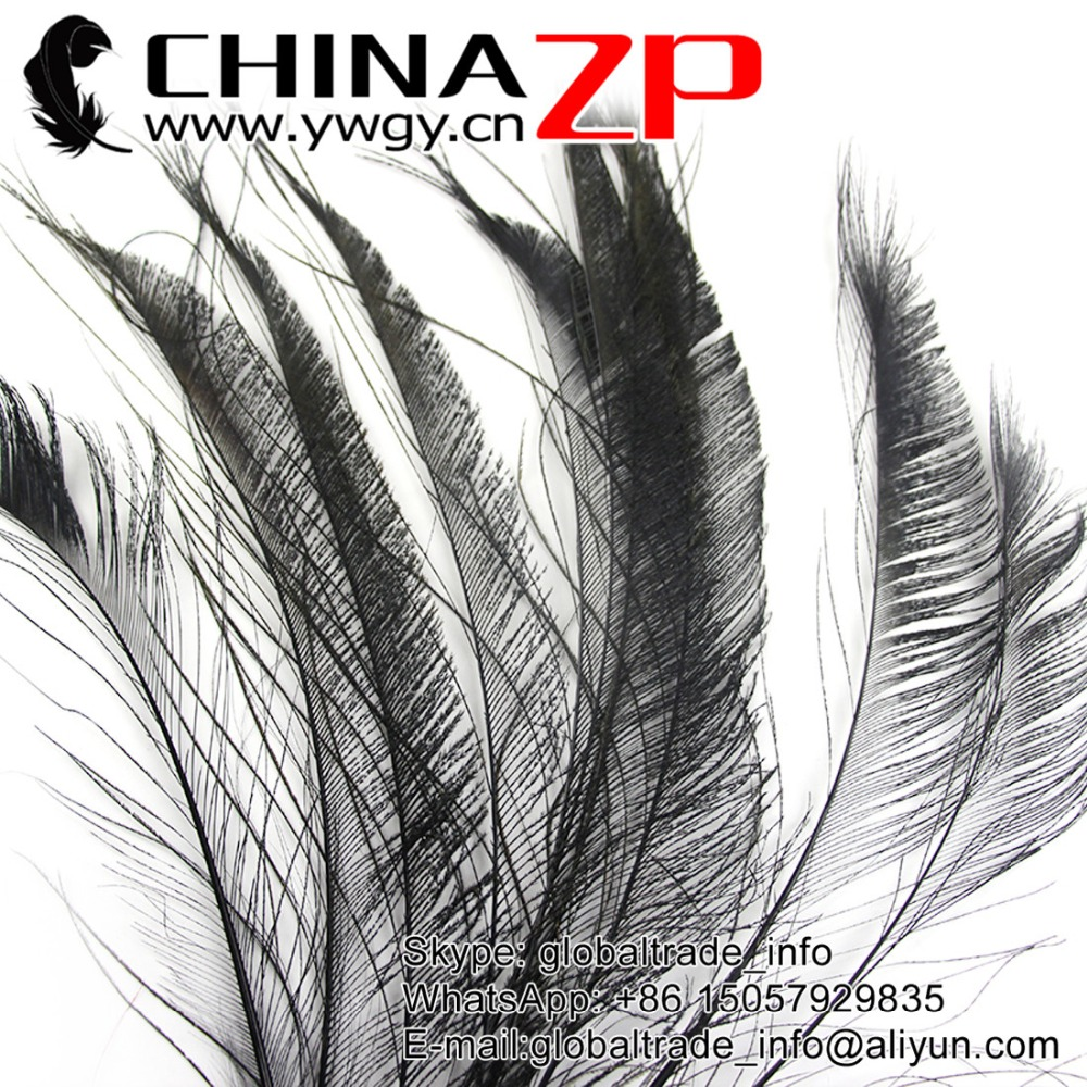 Leading Supplier CHINAZP Factory 100pcs/lot 30~40cm(12~16inch) Length Cheap Bulk Dyed Black Peacock Swords Cut Feathers(China (Mainland))