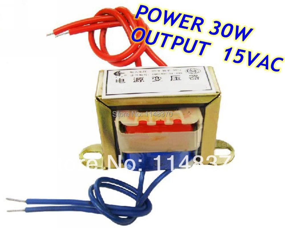 30W EI Ferrite Core Input 220V 50Hz Output 15VAC Vertical Mount Electric Power Transformer