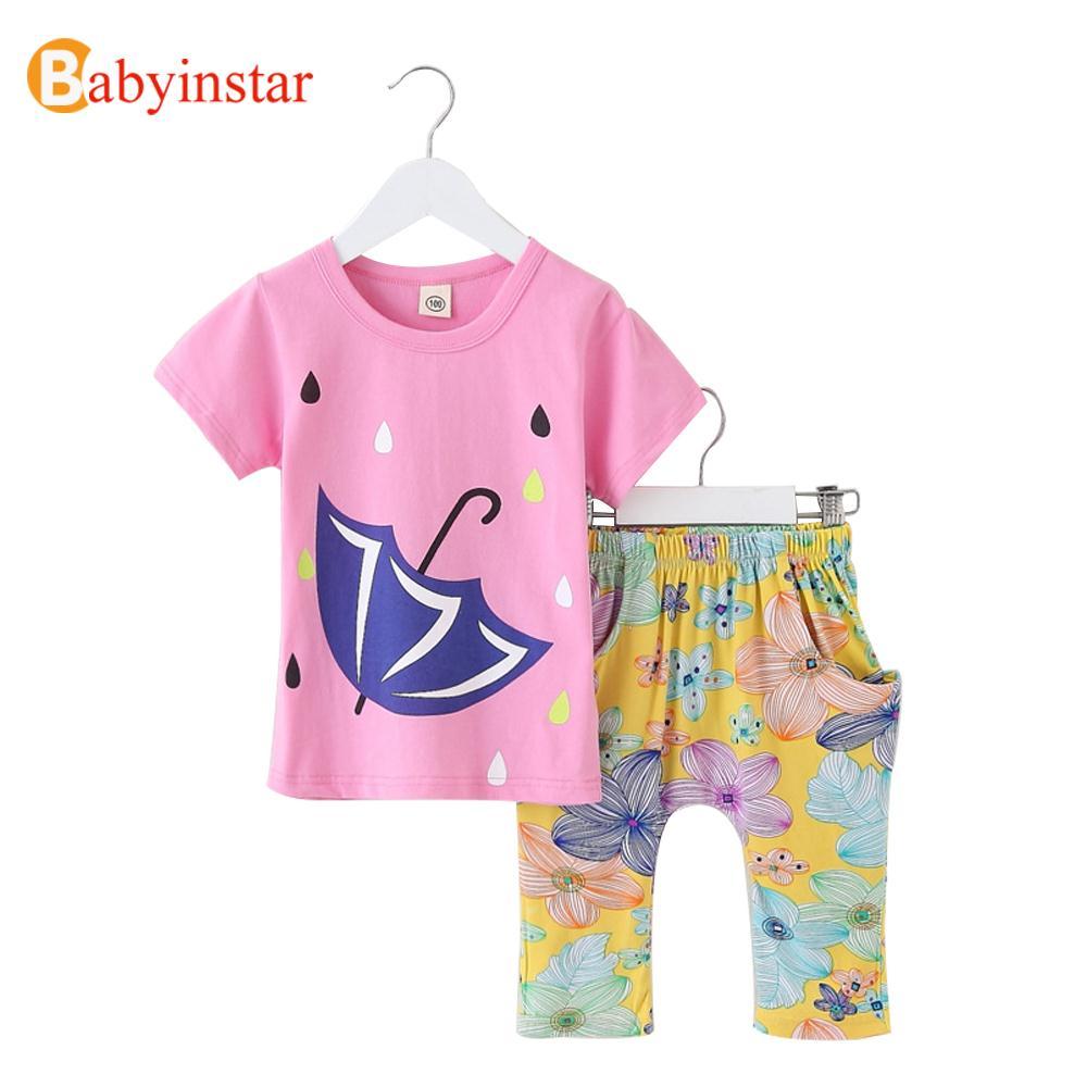 2016 New Girls Suit Umbrella Pattern t shirt+ Floral Pants Children Clothing Baby Costume 2016 Kids Clothing Set(China (Mainland))