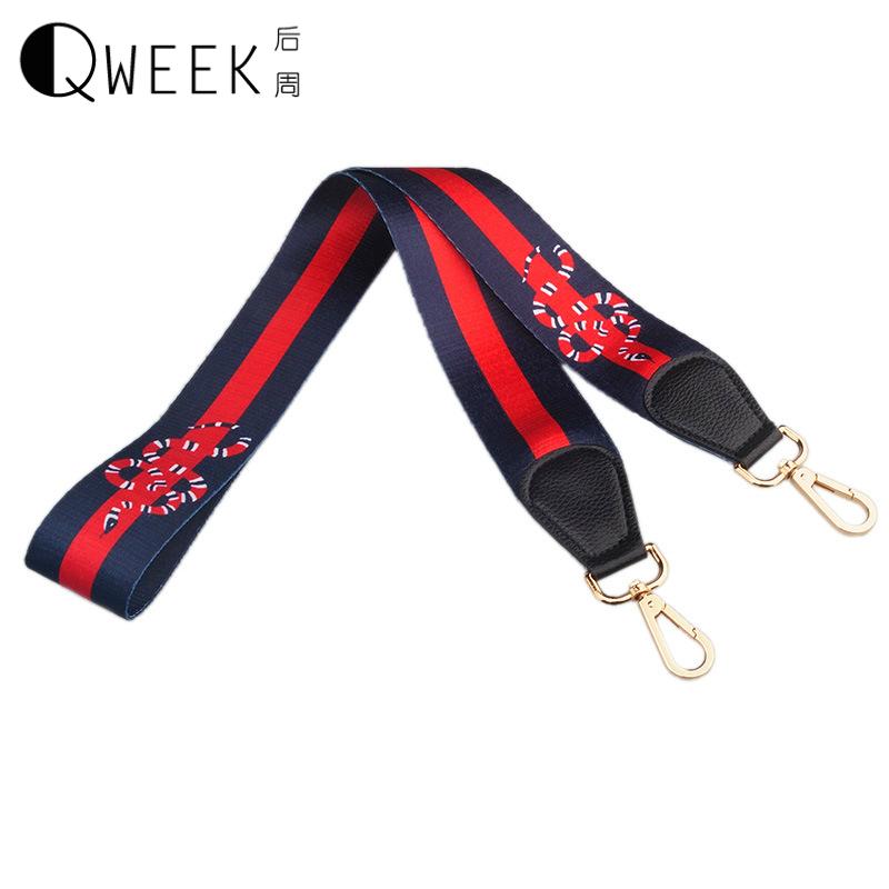 QWEEK Strap You Bag Accessories 2017 Fashion Gold Coating Bag Handle Stripe Snake Bohemian Stylish Shoulder Straps for Handbags(China (Mainland))