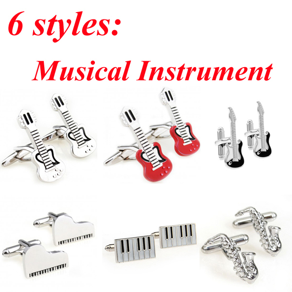 6 Designs Musical Instrument Cufflink Piano Guitar Sax Saxophone Violin Cuff Link Free Shipping(China (Mainland))