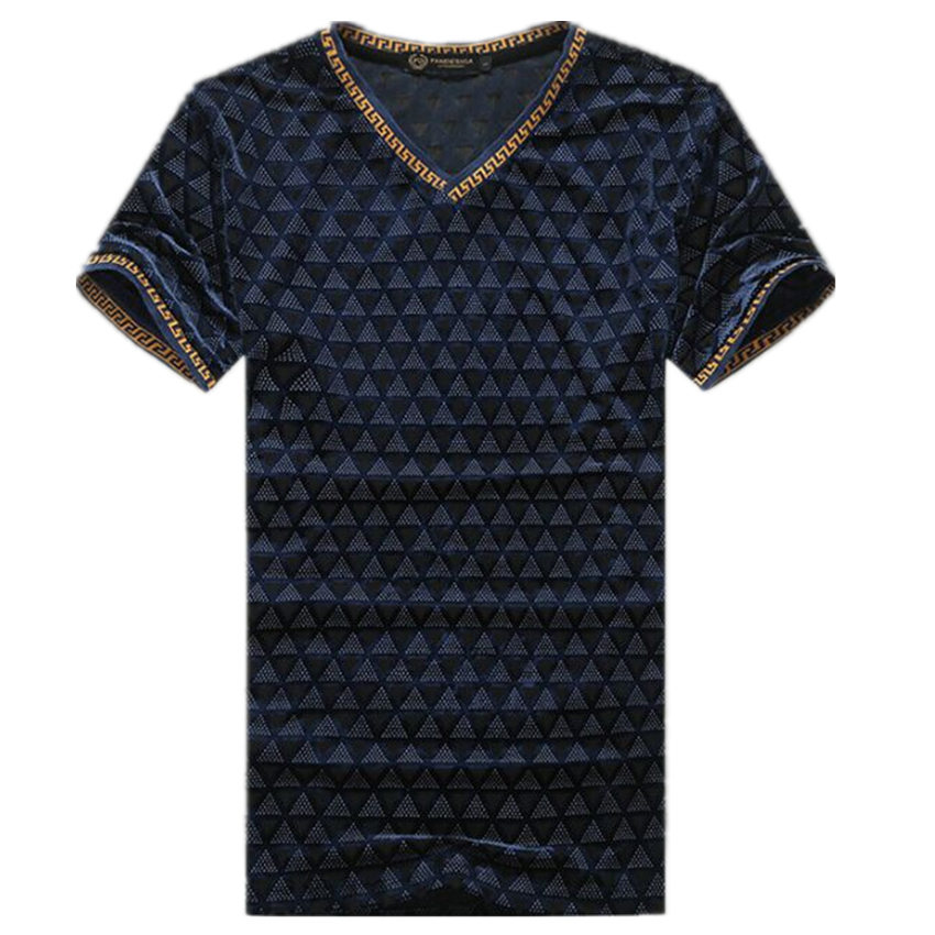 Men Summer Gold Velvet Hollow T-shirts Brand Plus Size Short Sleeve V-Neck Casual Tees High Quality Slim Fit Cotton Tshirt F1943Одежда и ак�е��уары<br><br><br>Aliexpress