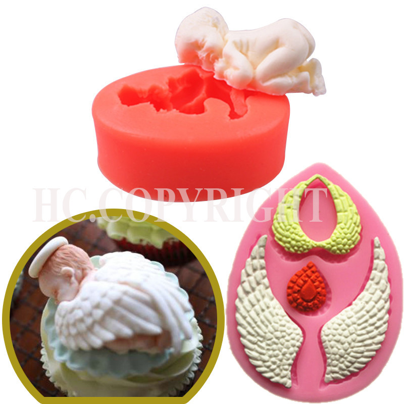 Very Lovely Bakeware 3D Sleeping Baby and Cute Angel Shape 2pc/1Set Cake Mold Soft Silicone Fondant Decor DIY Mould Baking Tools(China (Mainland))