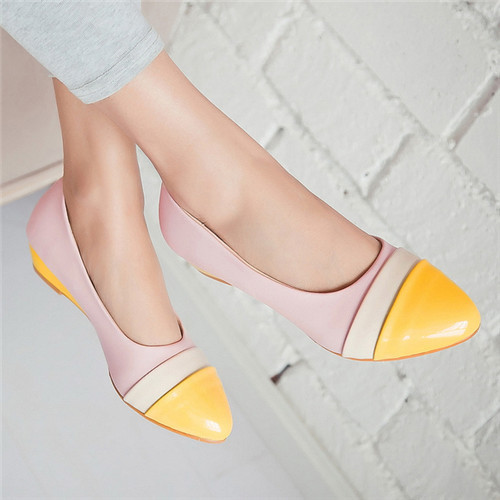 Sale Promotion Size 34 Concise Ladies Pumps Spring Pointed Toe Basic Office Low Wedges Women Solid Patch Beige Shoes