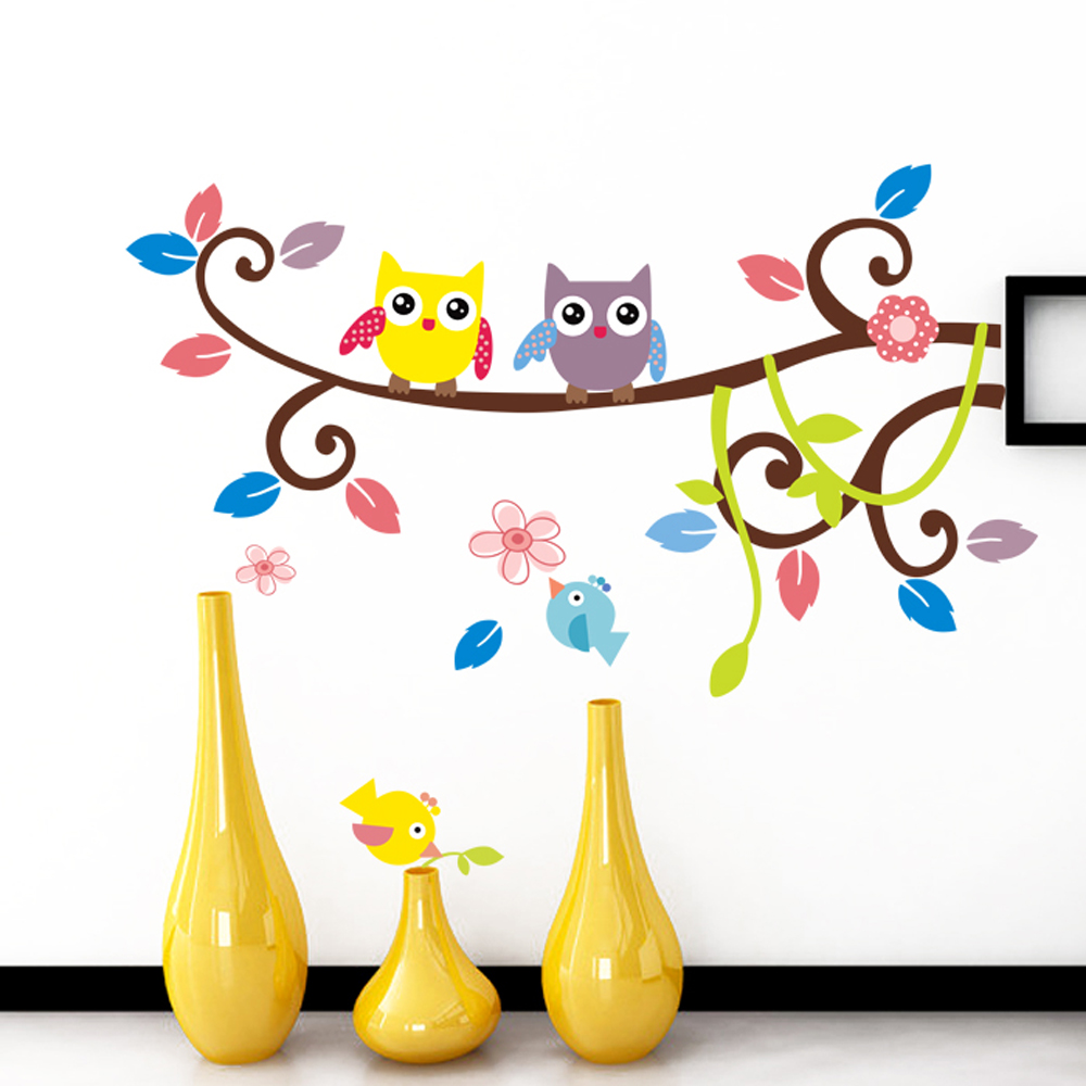 High Quality PVC Owl on tree birds colorful animal wall stickers for home decorations Children Kids Room Decorative vinyl Decals(China (Mainland))