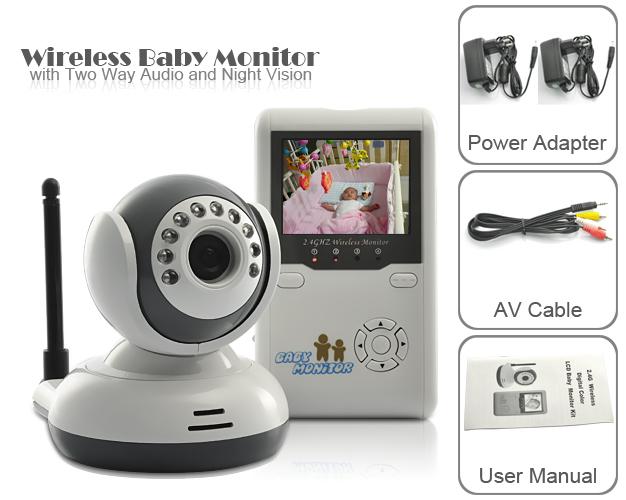 2 4 tft digital wireless baby video monitor one camera ir night vision voice intercom. Black Bedroom Furniture Sets. Home Design Ideas