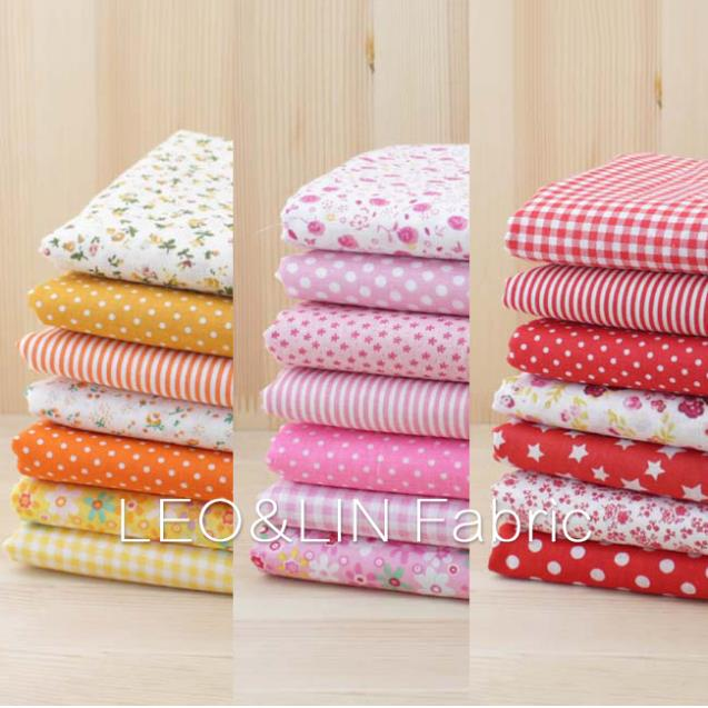 2017 DIY Summer Style Red Orange Yellow Dot Cotton Fabric For Sewing Doll Patchwork Textile 50*50cm (7pieces/lot) 50%OFF(China (Mainland))
