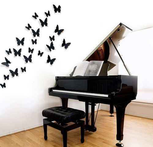 12pcs 3D Butterfly Wall Stickers Butterflies Docors Art / DIY Decorations Paper(China (Mainland))