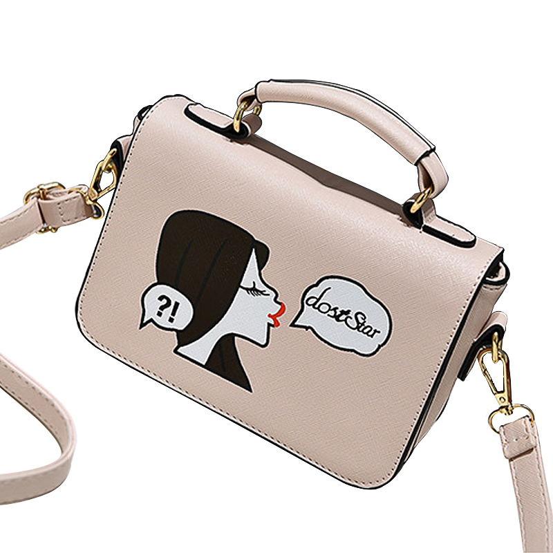 The New Spring and Summer Retro Diagonal Korean Printing Shoulder Handbag of PU Leather(China (Mainland))
