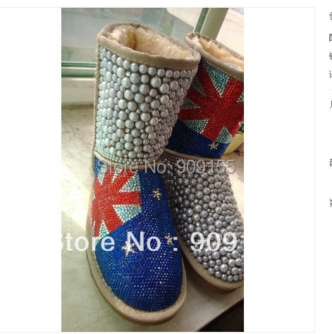 Drop shipping luxury Diamond pearl women UK Flag snow boots, hand make Fashion Women Brand Winter Genuine Leather Fur Boots
