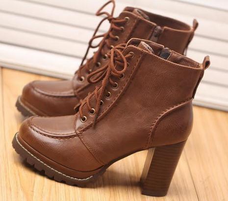 Здесь можно купить  Fashion High-heeled Square Toe Lacing Boots Autumn And Winter Zipper Round Toe Thick Heel Martin Boots Platform Boots Women